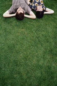 lying on the lawn